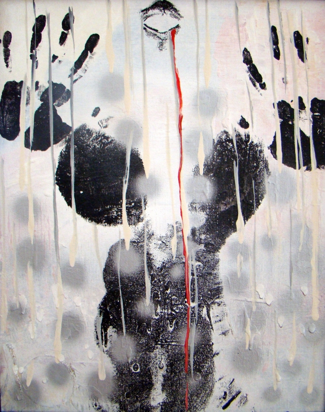 Black and white abstract painting of a naked woman's torso as her mouth bleeds