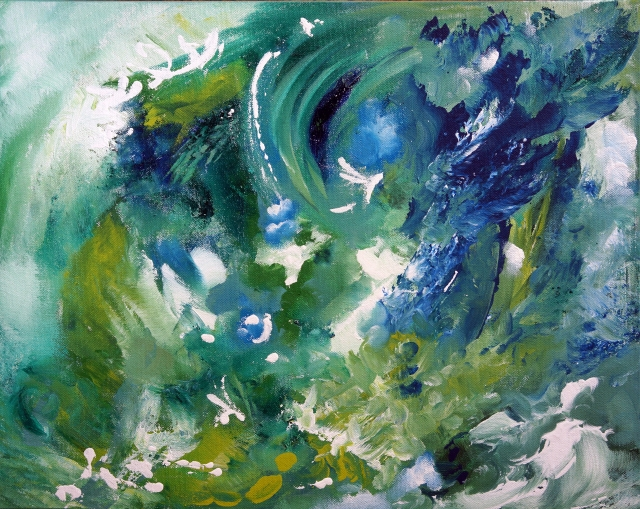 Abstract painting of a blue, green and aqua cosmos
