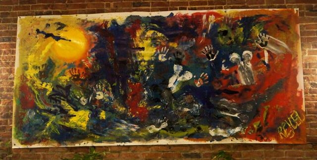 Ten foot abstract acrylic painting entitled Human Explosion by artist Rachael Harbert - nighttime view