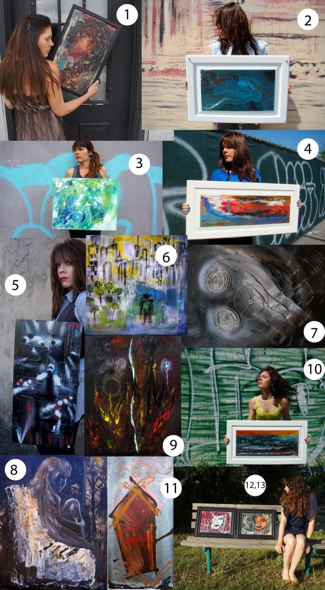 Collage of 13 of Rachael Harbert's paintings on sale for $100 each