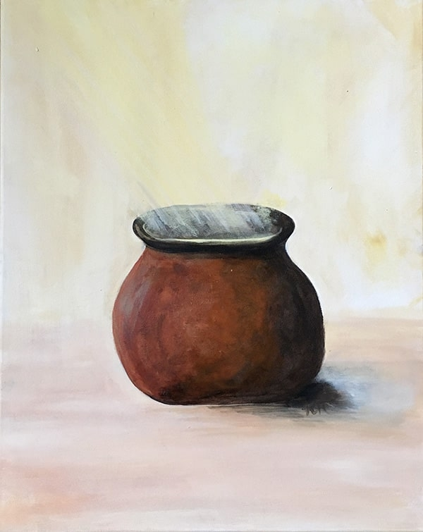 Acrylic painting of copper clay pot with overhead sunlight shining down on it