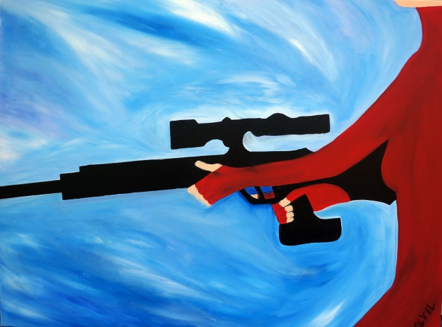 Painting of a woman in a full body red suit holding a large black rifle