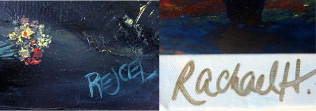 Two different types of signatures by artist Rachael Harbert