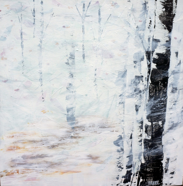 Abstract painting of leaves floating as snow falls