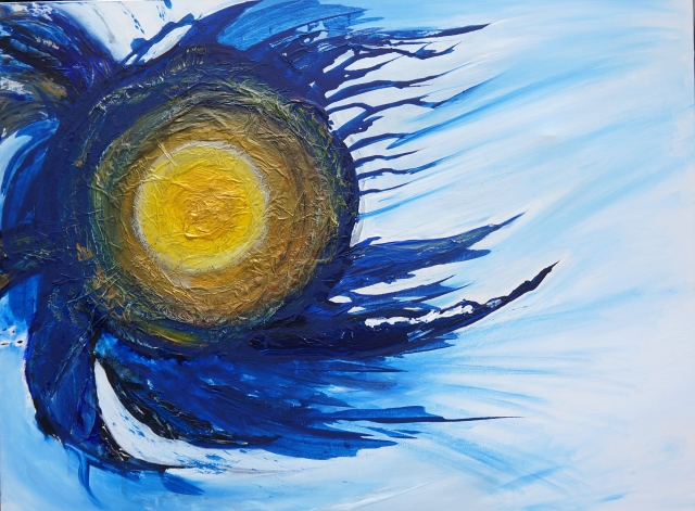 Abstract painting of a star moving between Earth and the moon