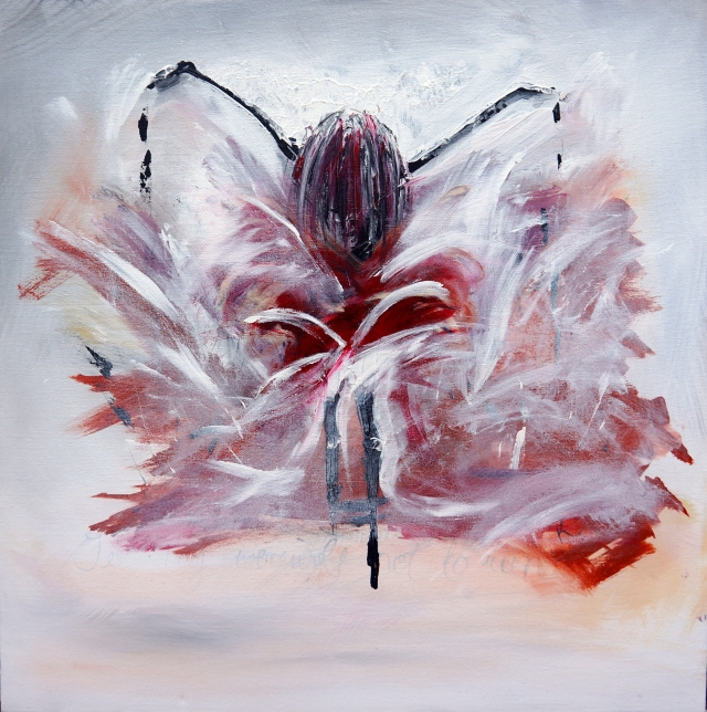 Abstract painting of a woman undergoing a violent transformation