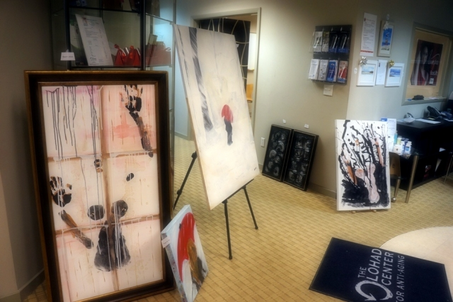 A display of 4 of Rachael Harbert's paintings at an art show