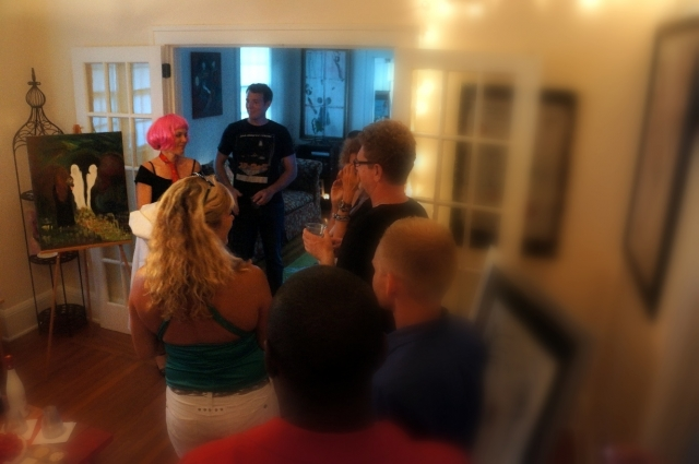 Picture of people gathered at Rachael Harbert's in-home art show