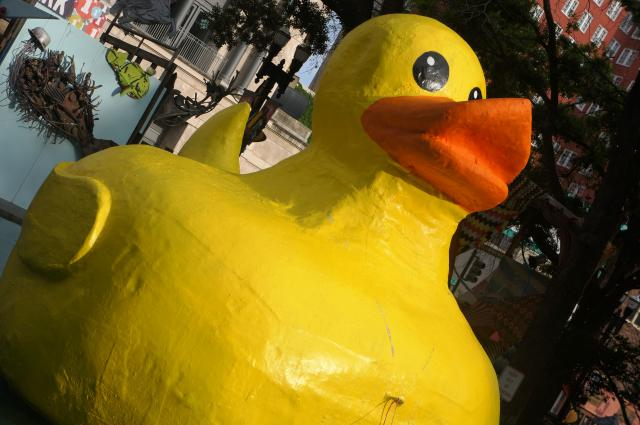 A huge yellow rubber ducky displayed at a downtown Jacksonville art show