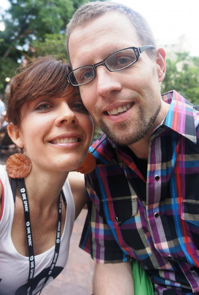 Artist Rachael Harbert poses with her husband during Jacksonville Florida's first crowdfuning art festival - One Spark 2013
