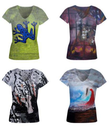 4 women's top with 4 different art designs created by Rachael Harbert's paintings