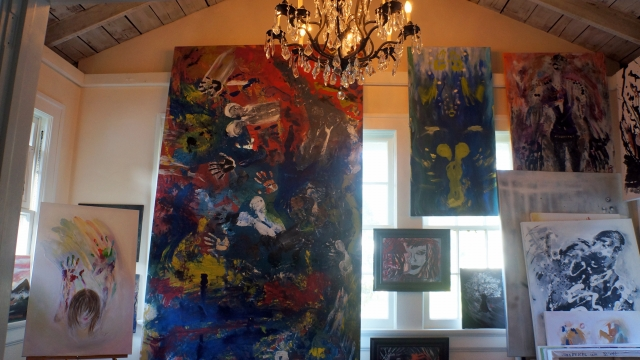 Paintings in Rachael Harbert's home studio