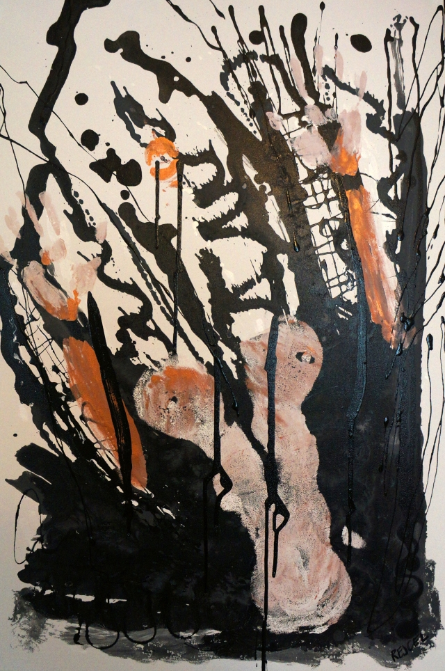 Abstract expressionism painting of a naked female torso engulfed in black soot