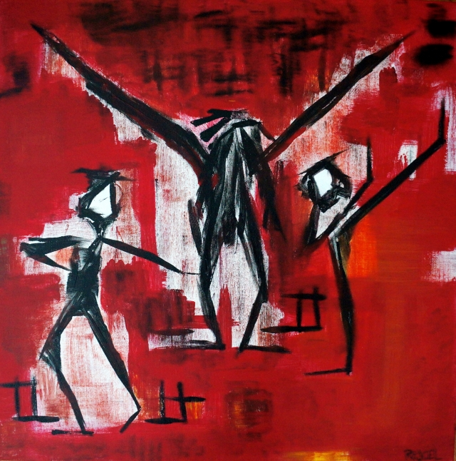 Abstract expressionism painting of dancers preparing for a performance