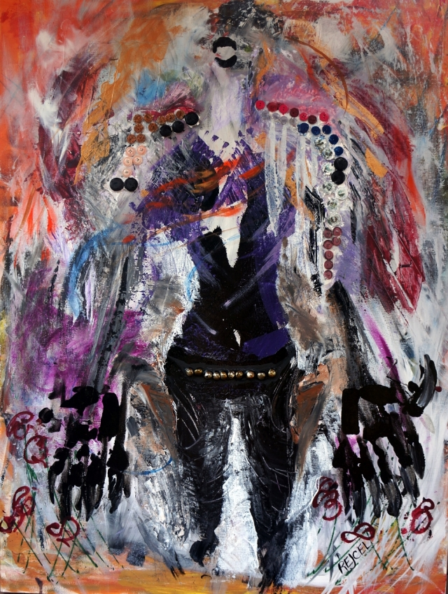 Abstract expressionism painting of a woman dressed in elaborate, primitive warrior armor with claw-like structures appended to her hands