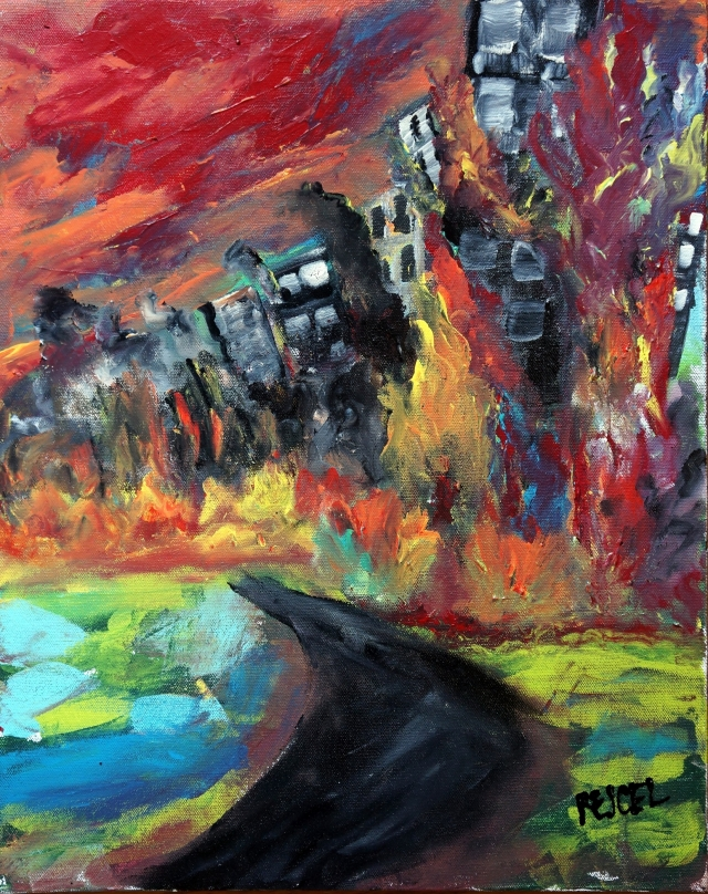 Abstract expressionism painting of a cityscape on fire