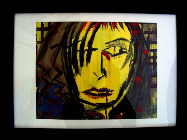 Abstract expressionism painting of a woman with a cautious expression
