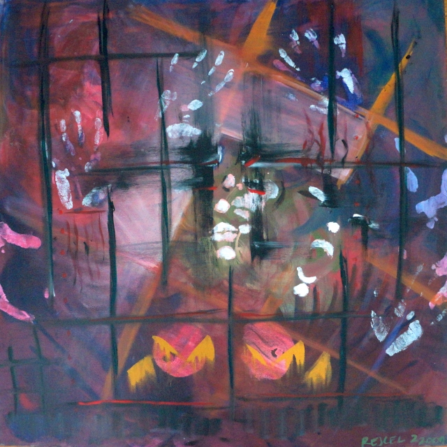 Abstract expressionism painting of people trapped behind a stained glass window