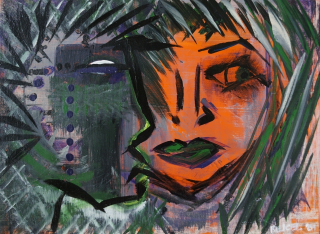 Abstract expressionism painting of a woman's face painted orange and a profile of a male warrior