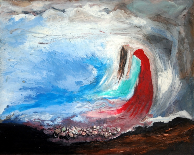 Abstract expressionism painting of a woman in a red dress emerging from the sea and into a cave with mountains in the background