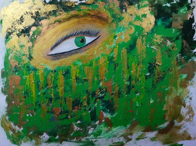 Abstract expressionism painting of a woman wearing an elaborate green and gold head scarf