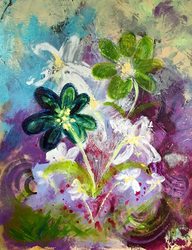 Abstract expressionism painting of flowers emerging from a vibrant harmony of blues and violets