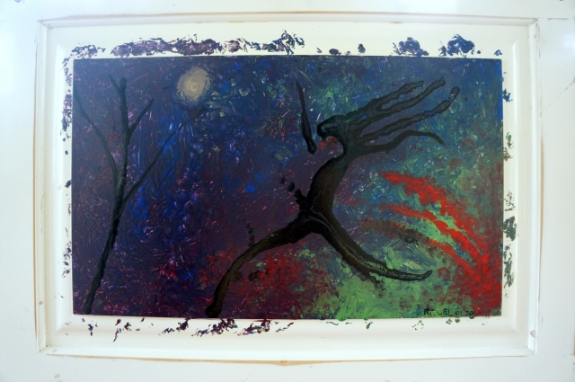 Abstract expressionism painting of a woman running through a forest at night