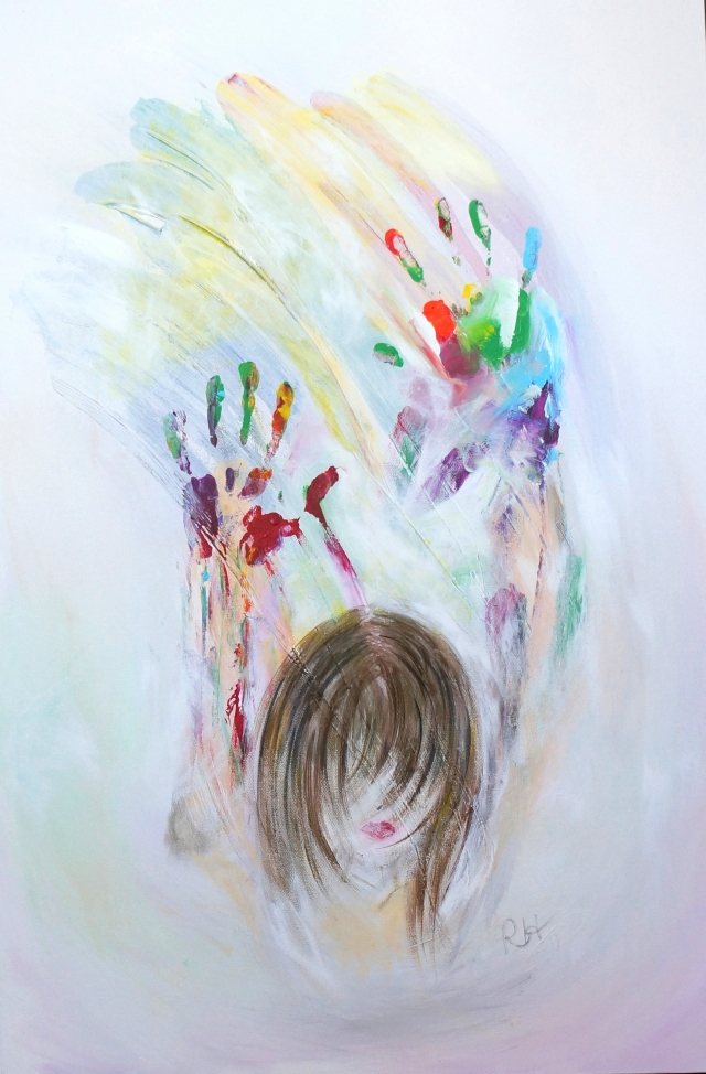 Abstract expressionism painting of a girl with rainbow colored hands