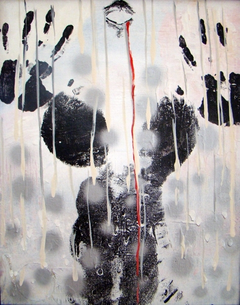 Abstract expressionistic painting of a woman standing naked in the rain as large silver droplets fall on her