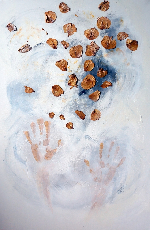 Abstract painting of a set of hands throwing leaves into the air