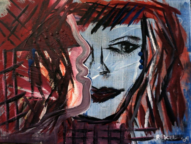 Abstract expressionism painting of a woman with red hair facing the profile of a man