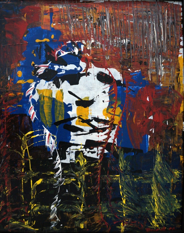 Abstract expressionism painting of distraught face composed of colorful shards