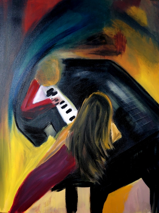 Abstract expressionism of a man playing the piano as a woman sits next to him