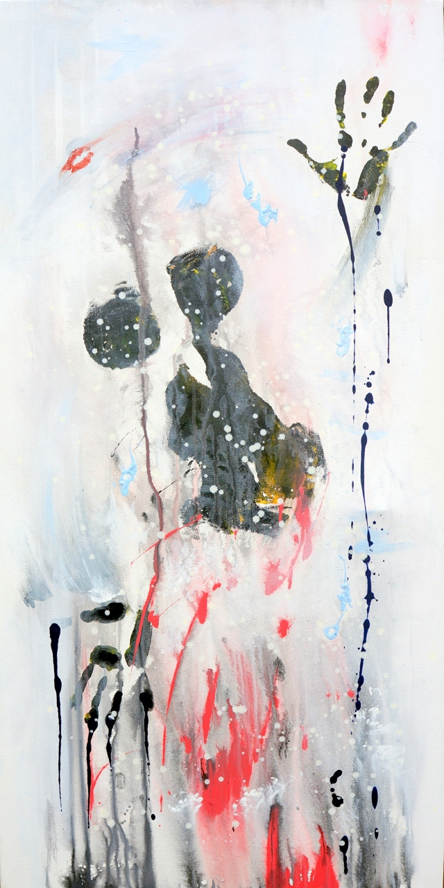Abstract expressionism painting of a still shot of a woman stumbling through a thick mist
