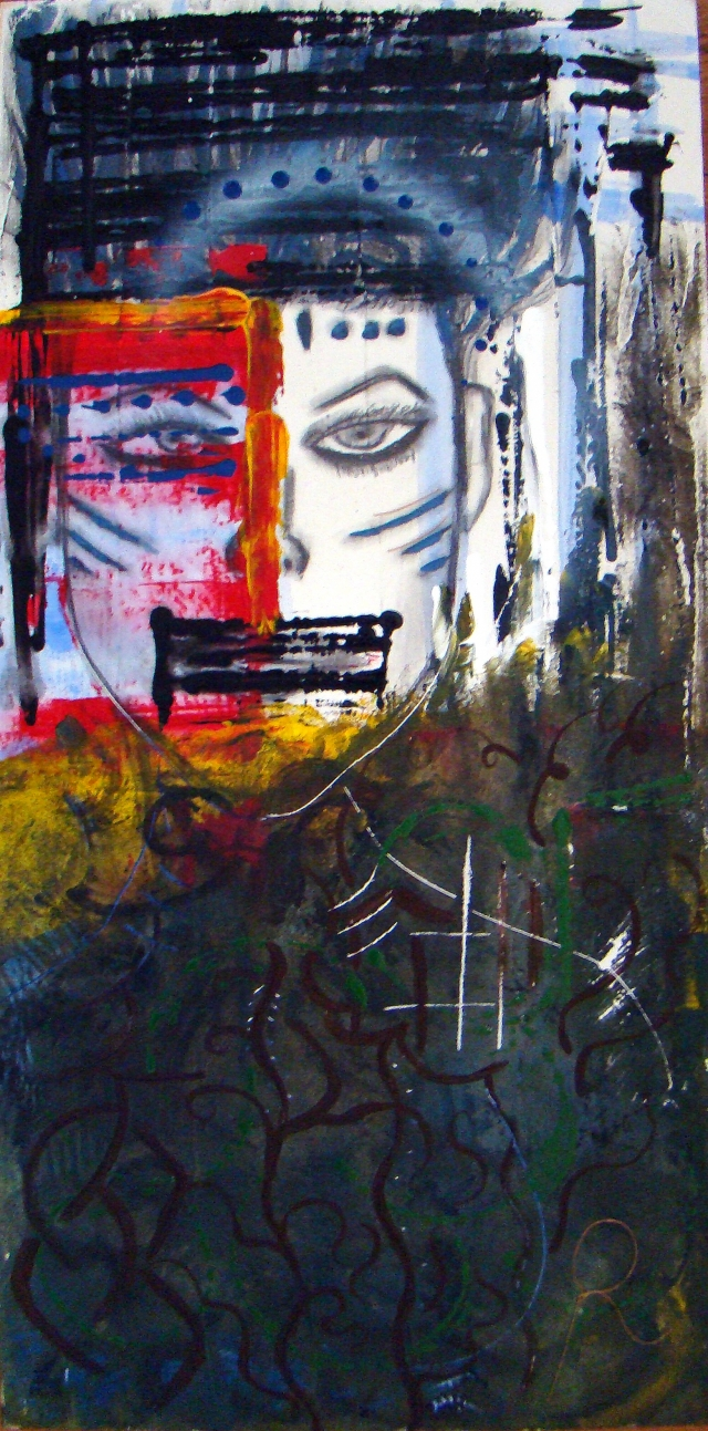 Abstract expressionistic painting of a female warrior dressed and tattooed in primitive Woad paint
