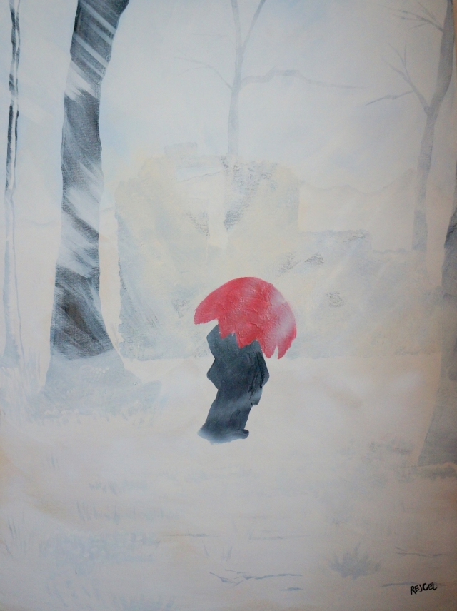 Abstract expressionistic painting of a woman wearing a long coat and holding a red umbrella during a snowstorm