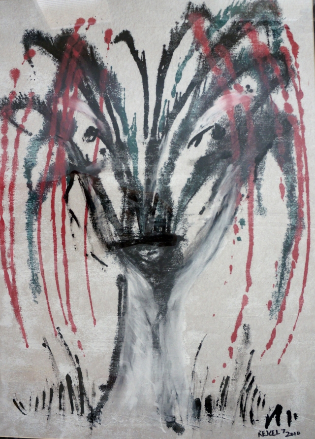 Abstract expressionistic painting of a woman's face hidden within the center of a willow tree