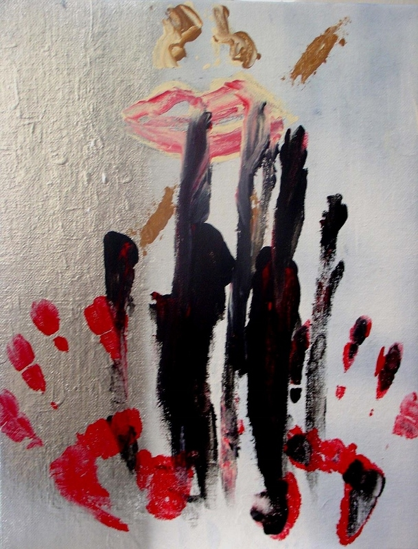 Abstract expressionism painting of a woman's face being marked by black sludge and red handprints