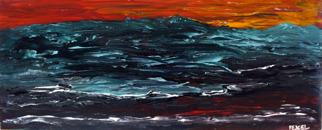 Abstract painting of a tumultuous sea as the sun sets