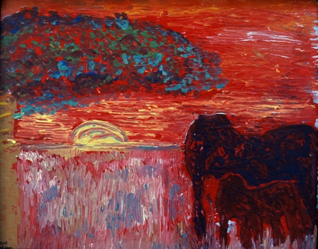 Abstract painting of a mother and baby elephant on a grassy plain with a red sky