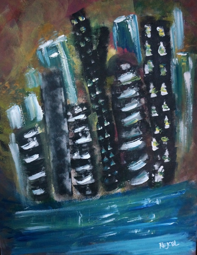 Abstract painting of a blue and black city skyline sitting along a river