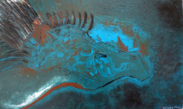 Abstract painting of the head of a blue dragon with horns on his nose