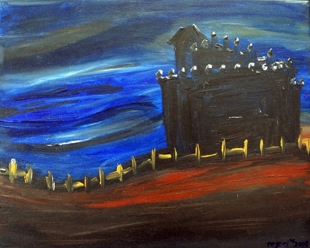 Abstract painting of a castle on a hill as a blue night descends