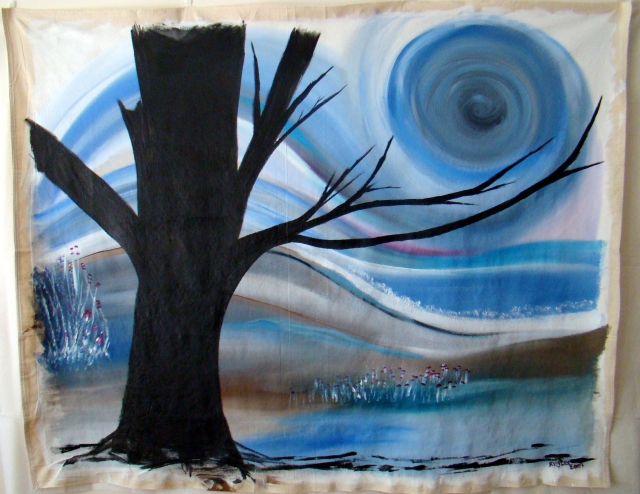 Abstract painting of a black tree under a swirling blue sun and sky