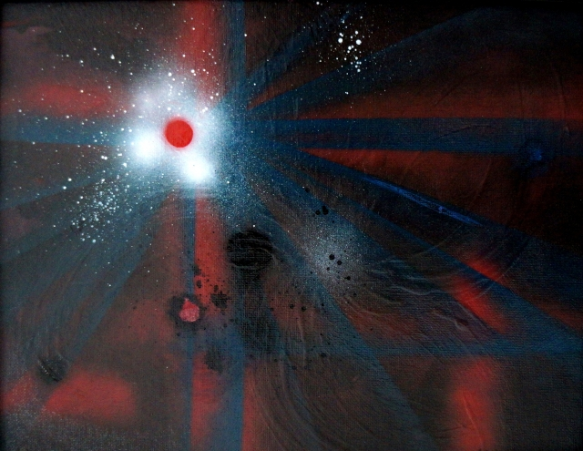 Abstract painting of a bullet hole in a red and blue shirt