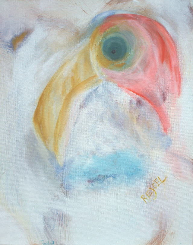 Abstract painting of the head of a Caribbean flamingo