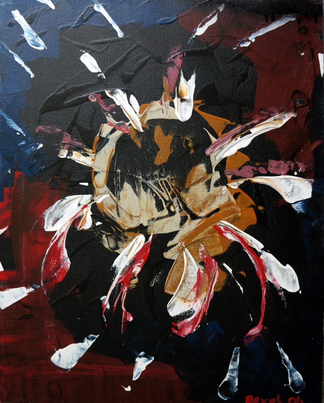 Abstract painting of paint positioned in centrifugal pattern