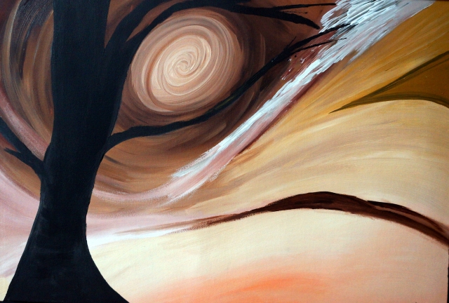 Abstract painting of various browns in a swirling pattern around a sun with a black tree in the foreground