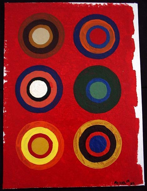 Abstract painting of 6 multi-colored circles