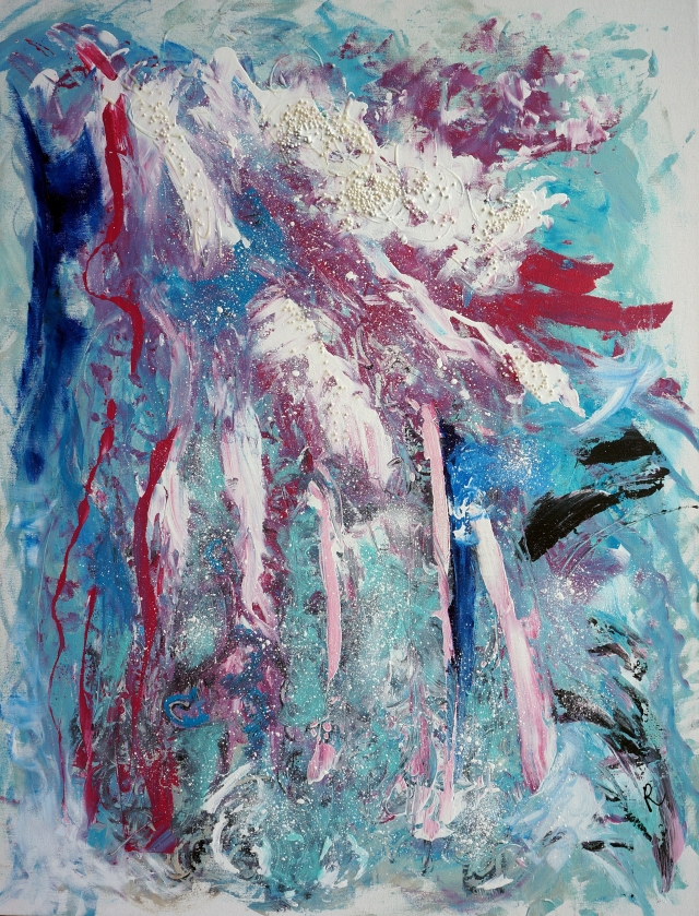 Abstract painting of a piece of iceberg exploding into shards of blue and pink